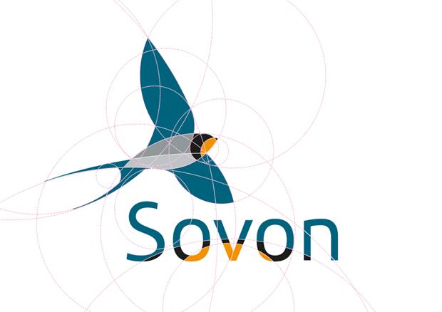 Het logo van Sovon, ontworpen door Thoas.nl & mr10.nl
