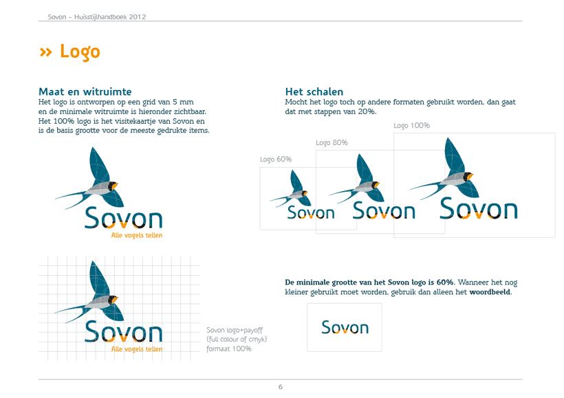 De huisstijl van Sovon, ontworpen door Thoas.nl & mr10.nl