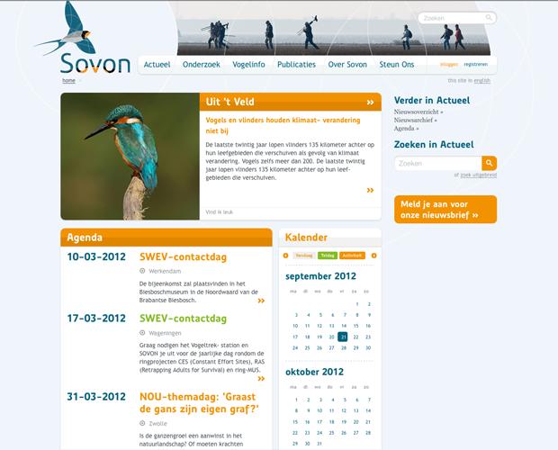 Screenshot van de website Sovon
